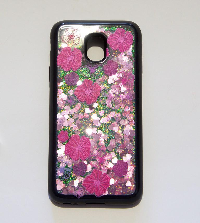 4D противоударная накладка, цветы с блёстками, для Samsung J3 2017 J330