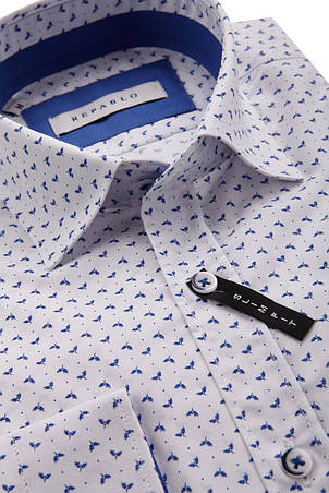 Белая рубашка с узором листьев KS 1760-1 разм. M, фото 2