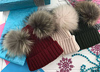 """Теплая женская шапка """"Neli"""" с меховыми помпонами (5 цветов)"""