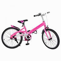 Велосипед детский PROF1 20д. W20115-3 Original,розовый,крылья,звонок,подножка