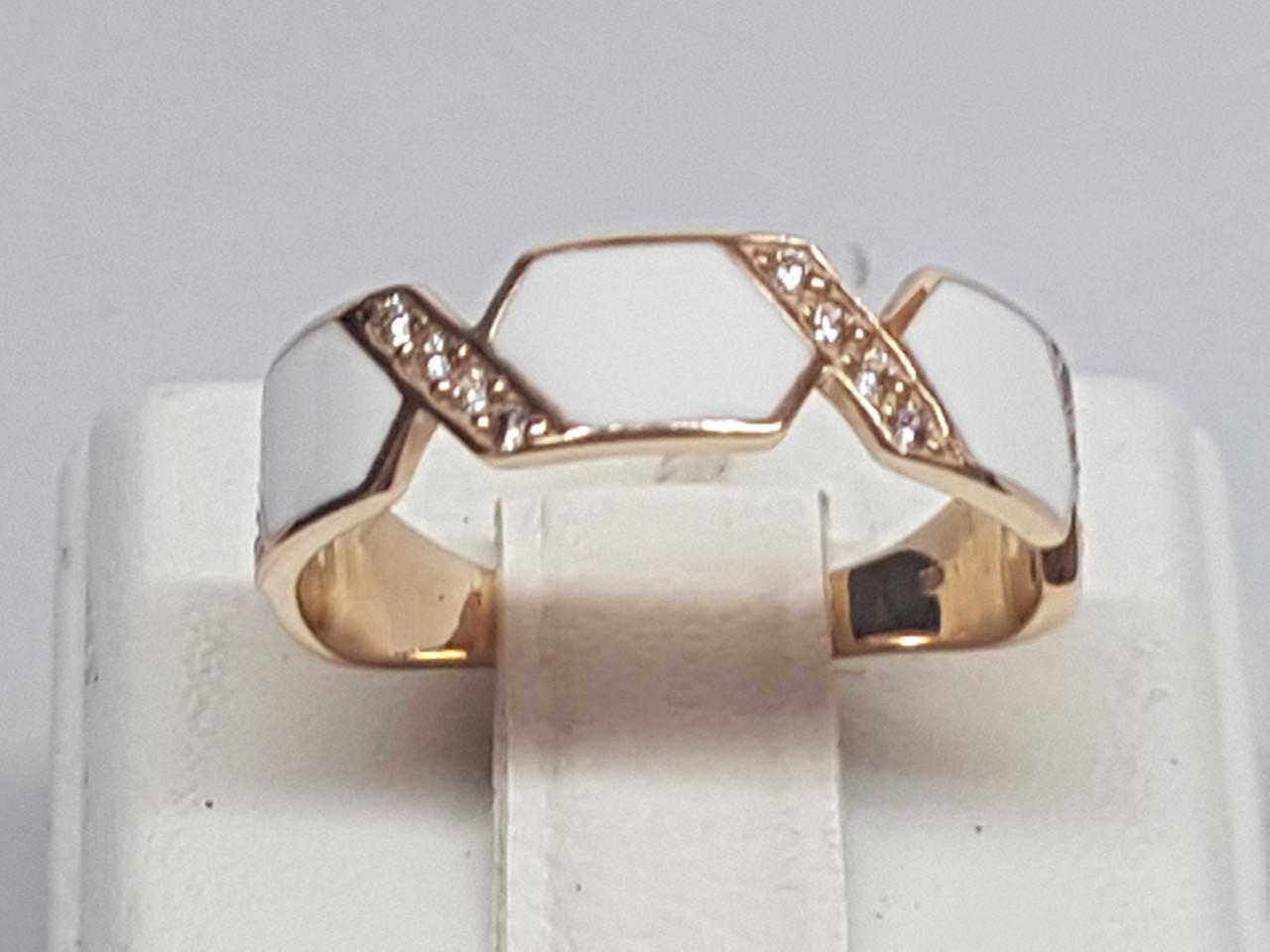 Золоте кільце з фіанітами і емаллю. Артикул 380148Е 19