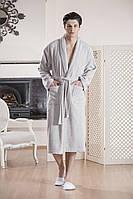 """Банный махровый халат мужской """"ТМ"""" GUL GULER """"YENI ARMA"""" grey 100% хлопок"""