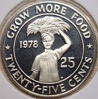 Монета Либерии. 25 центов 1978 г. (пруф)