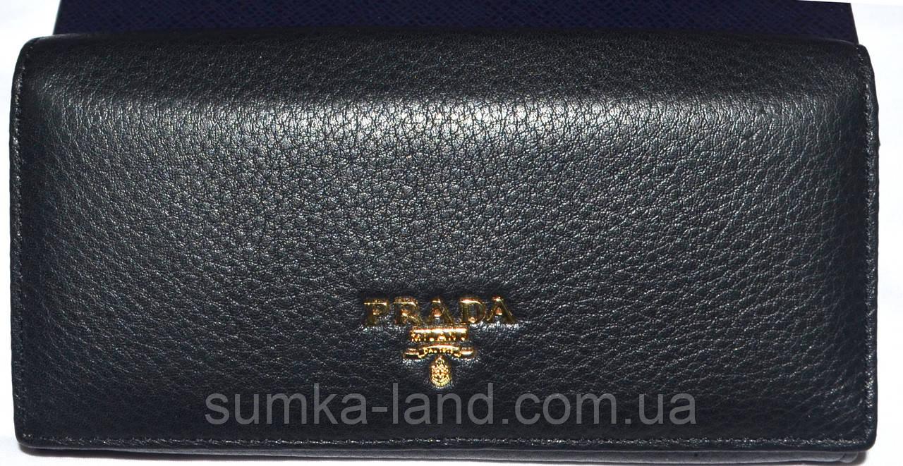 Женский черный кошелек Prada из натуральной кожи на кнопке