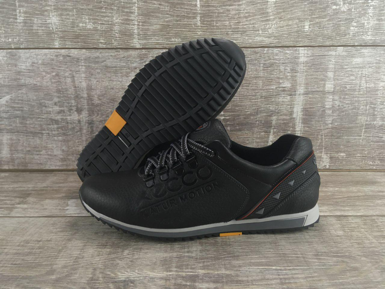 Мужские кожаные кроссовки ECCO код ЕК черные - Интернет-магазин обуви