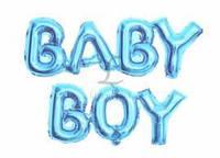 """Надпись фольгированная Baby Boy 16"""" (40 см) голубая Китай"""