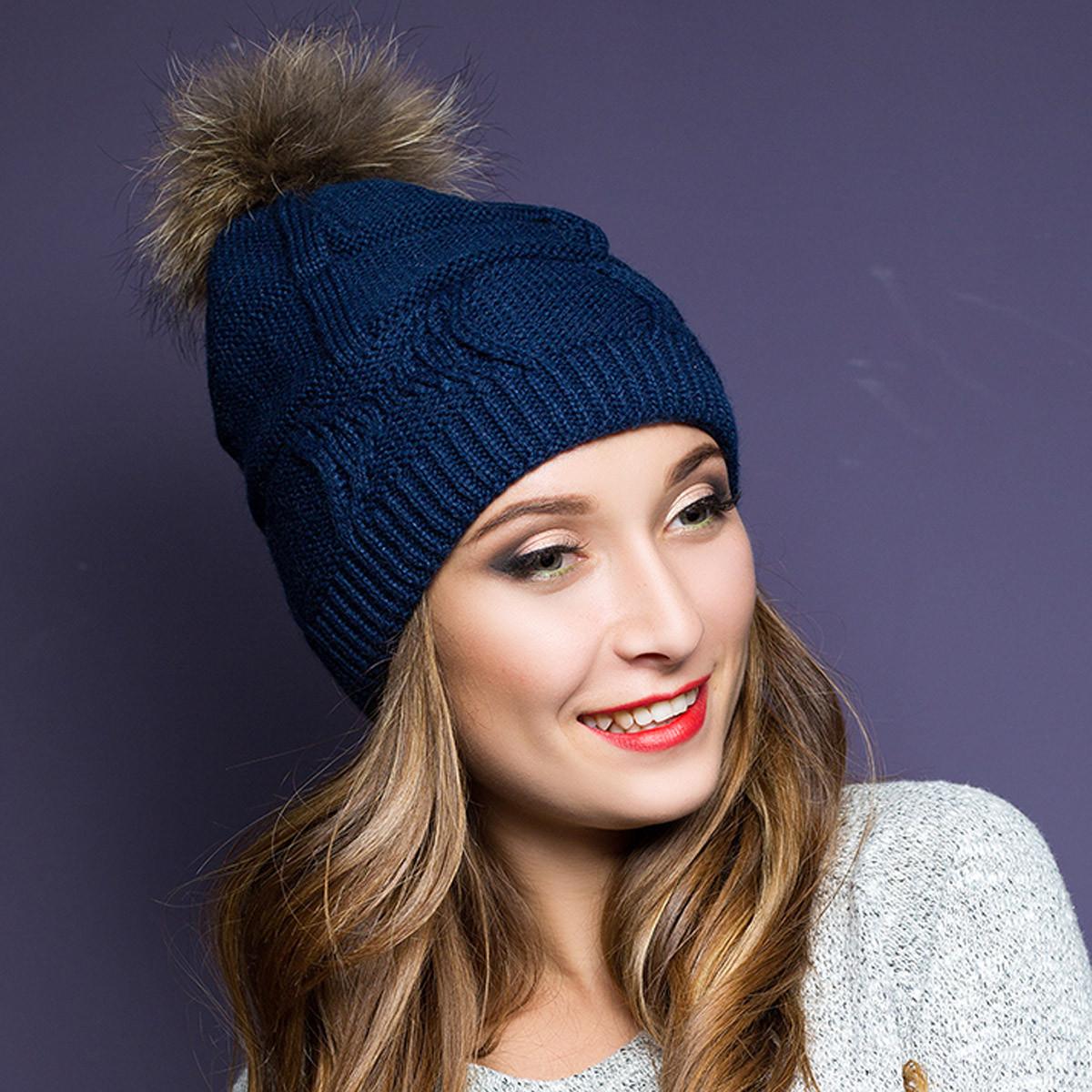 шапка вязаная женская с натуральным помпоном Anna Bestcom