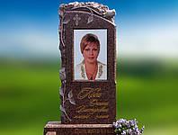 Памятник с керамикой и розами из красного гранита