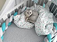 Бортик для детской кроватки, серо-бело-бирюзовый