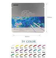"""Карандаши Цветные """"Raffine"""" 24 цветов в металлической упаковке 7100-24TN  Marco"""