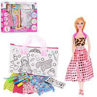 Кукла + Сумка набор для творчества, сумочка раскрась сам, 8828 D, 004806
