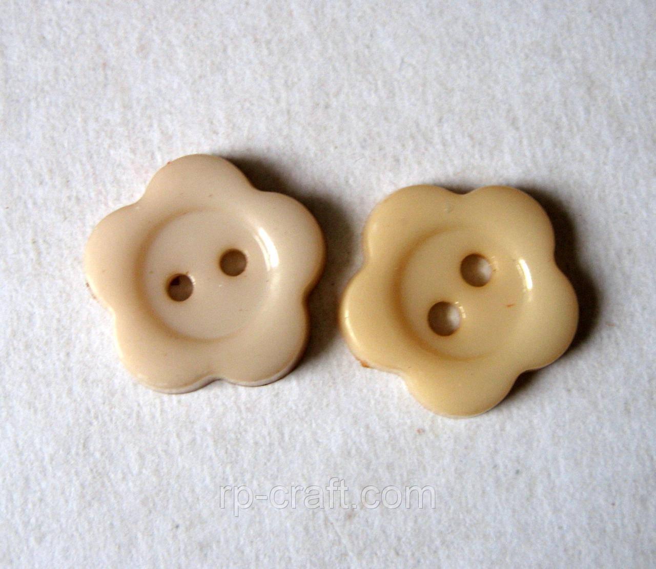 Ґудзик пластикова, декоративна. Квітка бежевий, 13 мм