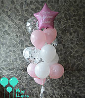 Фонтан с индивидуальной надписью ко дню рождения в нежных оттенках