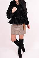 Полушубок женский из натурального меха (цв.черный) KNQER 8813 Размер:44