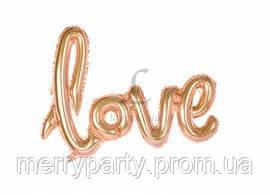 """Шар фольгированный буквы Love 16"""" (40 см) розовое золото металлик Китай"""