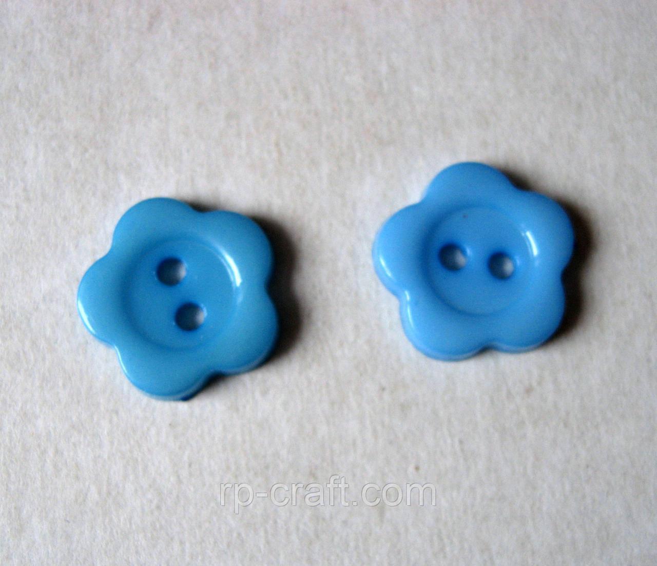 Пуговица пластиковая, декоративная. Цветок синий, 13 мм