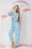 Женская пижама из хлопка со штанами в разных цветах tez641936