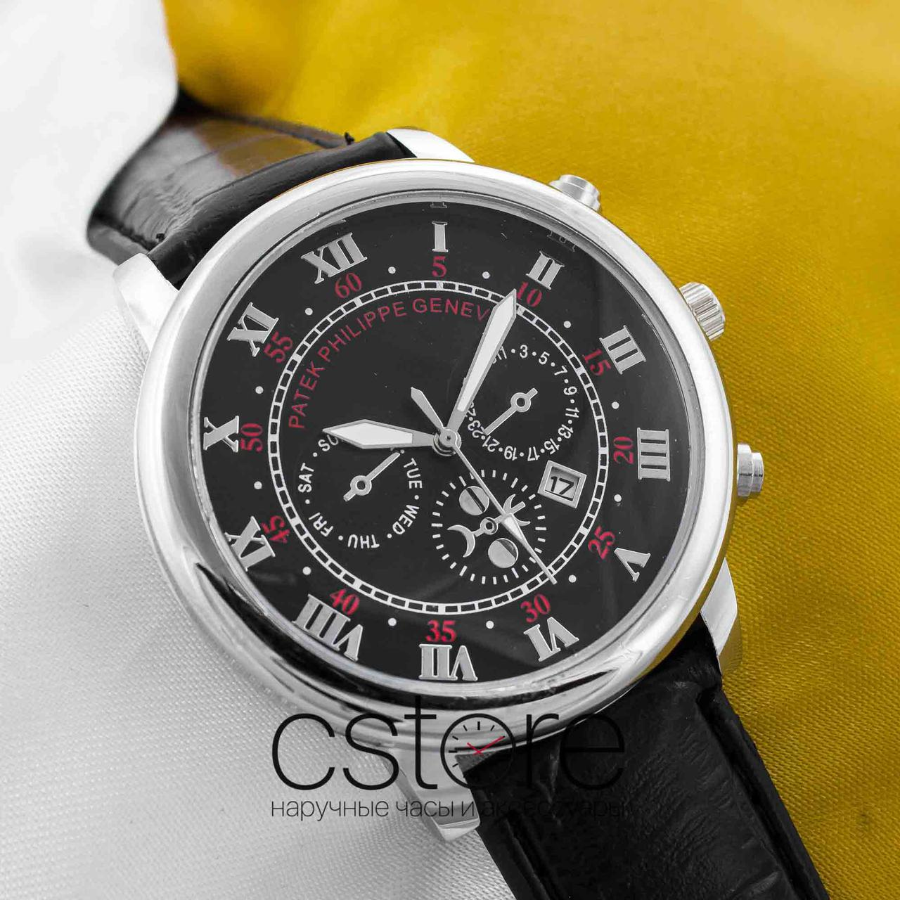Мужские наручные часы Patek Philippe sky moon silver black (05326 ... 88663306f70