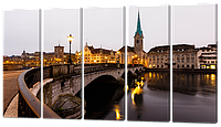 Модульная картина Мост (вид на Цюрик из старого центра города)