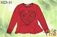 Реглан с баской с пайетками р.98,104,110,116,122,128 SmileTime LoveBird, красный