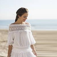 Белая блузка из натурального хлопка с открытыми плечами  300 F, фото 1