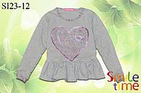 Реглан (кофта) для девочки с пайетками р.98,104,110,116,122,128 SmileTime с баской LoveBird, серый