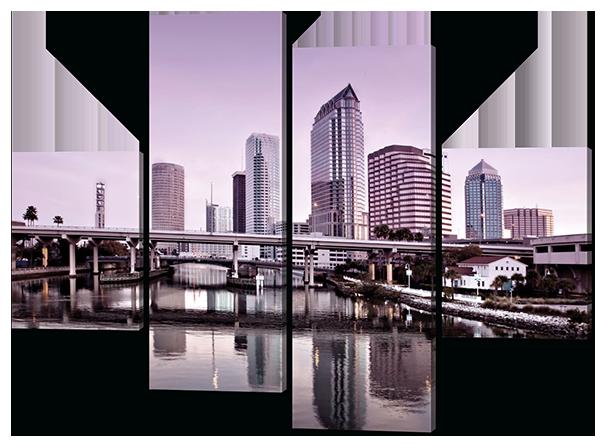 Модульная картина Розовый восход. Флорида