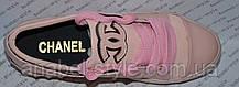 Кеды Женские Chane1 эко-кожа на шнуровке цвет пудра  Код 1348, фото 2