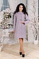 Женское демисезонное сиреневое пальто В-1112 EU-3197 Тон 4 44-54 размер