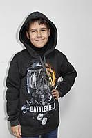 Толстовка подросток для мальчика серого цвета с рисунком впереди