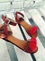 Женские замшевые босоножки с помпонами норки кораллового цвета сандалии больших и маленьких размеров 34 до 42
