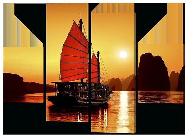 Модульная картина Закат в бухте Ха Лонг. Вьетнам (море, скалы, паруса)126*93 см
