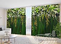 """Фото Шторы в зал """"Зеленые цветочные ламбрекены"""" 2,7м*2,9м (2 полотна по 1,45м), тесьма"""