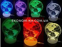 """3D ночник """"Глобус"""" 7 цвета свечения"""