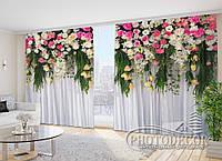 """Фото Шторы в зал """"Ламбрекены из роз"""" 2,7м*2,9м (2 полотна по 1,45м), тесьма"""