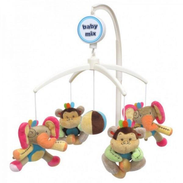 Карусель на кроватку плюшевая Слоны и обезьяны/Утки в шапках ТМ Baby Mix