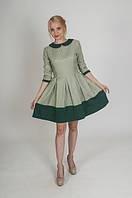 Женское клетчатое платье из полушерсти П207