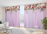 """Фото Шторы в зал """"Розовые ламбрекены из цветов"""" 2,7м*2,9м (2 полотна по 1,45м), тесьма"""