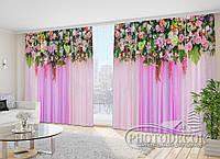"""Фото Шторы в зал """"Розовые цветочные ламбрекены"""" 2,7м*2,9м (2 полотна по 1,45м), тесьма"""