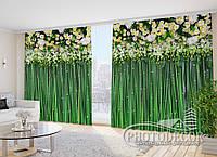 """Фото Шторы в зал """"Цветочные ламбрекены и бамбук"""" 2,7м*2,9м (2 полотна по 1,45м), тесьма"""