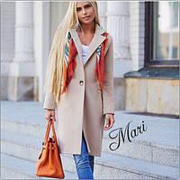 Женское пальто кашемир с подкладкой (разные цветы: серый, черный, голубой), фото 1