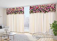 """Фото Шторы в зал """"Яркие цветочные ламбрекены"""" 2,7м*2,9м (2 полотна по 1,45м), тесьма"""