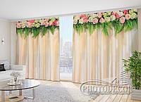 """Фото Шторы в зал """"Ламбрекены розы с папоротником"""""""