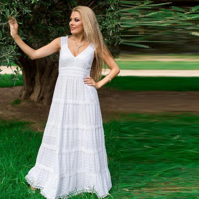 b29e614f32b Летнее платье в пол из натурального белого хлопка 633 F  продажа ...