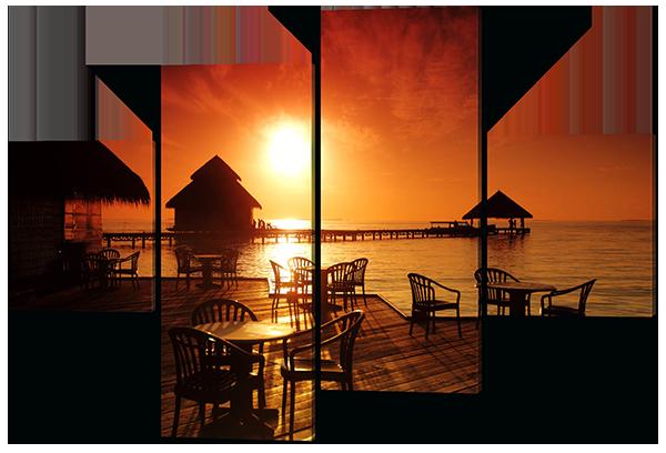 Модульная картина Тропический кофе на фоне заката. Мальдивы 166*114 см