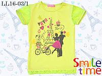 Футболка для девочки с гипюром р.140,146,152,158 SmileTime Love in Paris подростковая, салатовая, фото 1