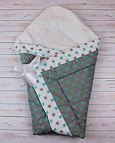 Осенний/весенний конверт одеяло для новорожденных на выписку   90х90см Серый бирюзовые звезды