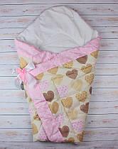 Осенний/весенний конверт одеяло для новорожденных на выписку   90х90см Бежевые сердца