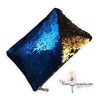 Клатч меняющий цвет Синий + золото