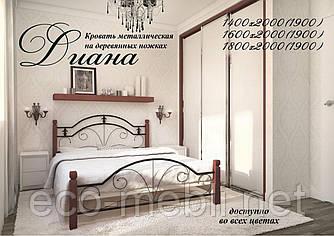 Півтораспальне ліжко Діана дерев'яні ноги Метал Дизайн